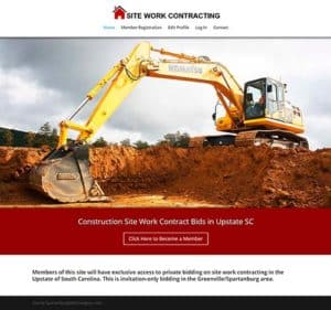 Site Work Contracting Bidding Membership Site in Greenville and Spartanburg SC